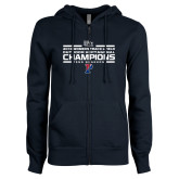 ENZA Ladies Navy Fleece Full Zip Hoodie-2018 Womens Track and Field Champions