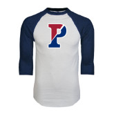 White/Navy Raglan Baseball T-Shirt-Split P