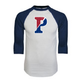 White/Navy Raglan Baseball T-Shirt-Split P Distressed