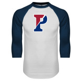 White/Navy Raglan Baseball T Shirt-Split P