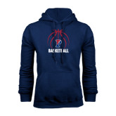 Navy Fleece Hood-Penn Basketball Stacked w/ Ball