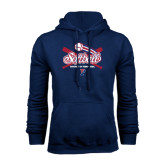 Navy Fleece Hood-Softball w/ Crossed Bats