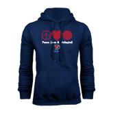 Navy Fleece Hood-Peace Love & Volleyball