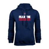 Navy Fleece Hood-Fear The Quaker