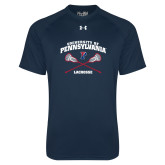 Under Armour Navy Tech Tee-Pennsylvania Lacrosse Crossed Sticks