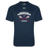 Under Armour Navy Tech Tee-Pennsylvania Lacrosse Crossed Sticks