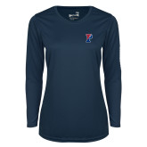 Ladies Syntrel Performance Navy Longsleeve Shirt-Split P