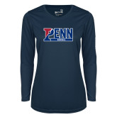 Ladies Syntrel Performance Navy Longsleeve Shirt-Penn Baseball