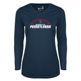 Ladies Syntrel Performance Navy Longsleeve Shirt-Penn Football Stacked