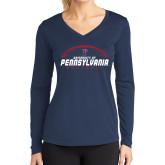 Ladies Syntrel Performance Navy Longsleeve Shirt-Penn Football Stacked