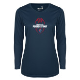 Ladies Syntrel Performance Navy Longsleeve Shirt-Penn Football Vertical
