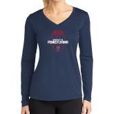 Ladies Syntrel Performance Navy Longsleeve Shirt-Penn Football Vertical