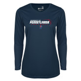Ladies Syntrel Performance Navy Longsleeve Shirt-Penn Football Flat