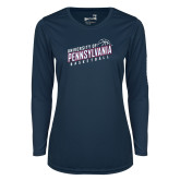Ladies Syntrel Performance Navy Longsleeve Shirt-Pennsylvania Basketball Slanted