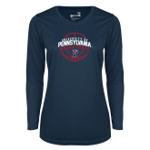 Ladies Syntrel Performance Navy Longsleeve Shirt-Pennsylvania Basketball Arched