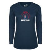 Ladies Syntrel Performance Navy Longsleeve Shirt-Penn Basketball Under Ball