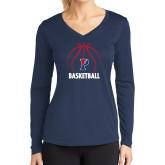 Ladies Syntrel Performance Navy Longsleeve Shirt-Penn Basketball Under Ball
