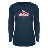 Ladies Syntrel Performance Navy Longsleeve Shirt-Penn Softball Crossed Bats