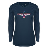 Ladies Syntrel Performance Navy Longsleeve Shirt-Track and Field Front Shoe