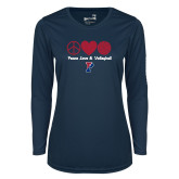 Ladies Syntrel Performance Navy Longsleeve Shirt-Peace Love & Volleyball