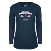 Ladies Syntrel Performance Navy Longsleeve Shirt-Pennsylvania Lacrosse Crossed Sticks
