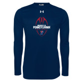 Under Armour Navy Long Sleeve Tech Tee-Penn Football Vertical