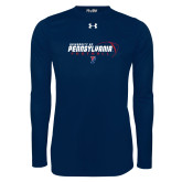 Under Armour Navy Long Sleeve Tech Tee-Penn Football Flat