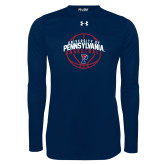 Under Armour Navy Long Sleeve Tech Tee-Pennsylvania Basketball Arched