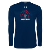 Under Armour Navy Long Sleeve Tech Tee-Penn Basketball Under Ball