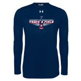 Under Armour Navy Long Sleeve Tech Tee-Track and Field Front Shoe