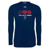 Under Armour Navy Long Sleeve Tech Tee-Peace Love & Volleyball