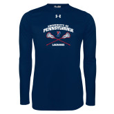Under Armour Navy Long Sleeve Tech Tee-Pennsylvania Lacrosse Crossed Sticks