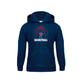 Youth Navy Fleece Hood-Penn Basketball Stacked w/ Ball