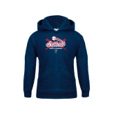 Youth Navy Fleece Hood-Softball w/ Crossed Bats