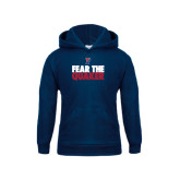 Youth Navy Fleece Hoodie-Fear The Quaker
