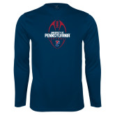 Performance Navy Longsleeve Shirt-Penn Football Vertical