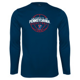 Performance Navy Longsleeve Shirt-Pennsylvania Basketball Arched