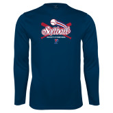 Performance Navy Longsleeve Shirt-Penn Softball Crossed Bats