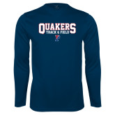 Performance Navy Longsleeve Shirt-Quakers Track and Field