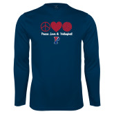Performance Navy Longsleeve Shirt-Peace Love & Volleyball