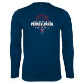 Syntrel Performance Navy Longsleeve Shirt-Pennsylvania Volleyball Half Ball
