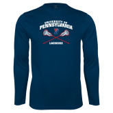 Performance Navy Longsleeve Shirt-Pennsylvania Lacrosse Crossed Sticks