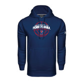 Under Armour Navy Performance Sweats Team Hood-Pennsylvania Basketball in Ball