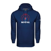 Under Armour Navy Performance Sweats Team Hood-Penn Basketball Stacked w/ Ball