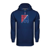 Under Armour Navy Performance Sweats Team Hood-Bleed Red & Blue