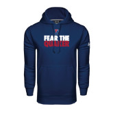 Under Armour Navy Performance Sweats Team Hood-Fear The Quaker