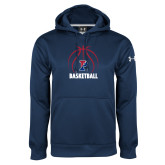 Under Armour Navy Performance Sweats Team Hoodie-Penn Basketball Under Ball