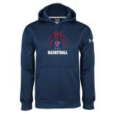 Under Armour Navy Performance Sweats Team Hoodie-Penn Basketball Under Ball