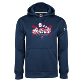 Under Armour Navy Performance Sweats Team Hoodie-Penn Softball Crossed Bats