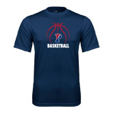 Syntrel Performance Navy Tee-Penn Basketball Stacked w/ Ball